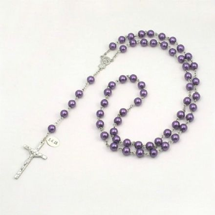 Wired Personalised Rosary, Purple Pearls, Any Engraving